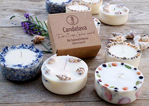 Duftkerze Soja Erdbeeren Minze Geschenk Kerze aus Bio Sojawachs ätherisches Öl Geschenkbox lange Brenndauer - 3