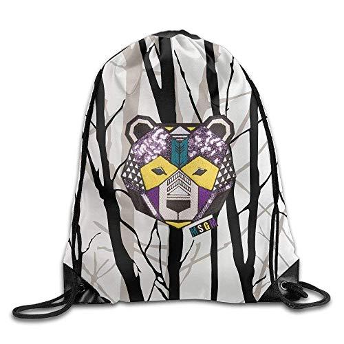 uykjuykj Tunnelzug Rucksäcke, Drawstring Bags Gym Bag Travel Backpack, Branches, Drawstring Backpack for Boys Girls Black 2 Lightweight Unique 17x14 IN