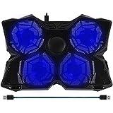 """BAKTH 14 """"-17"""" Blue LED 4 Fans Gaming Laptop Cooling Pad avec Interrupteur de vitesse réglable + BAKTH Mat Mouse comme cadeau personnalisé"""