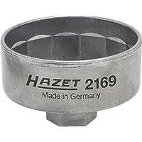 HAZET Ölfilterschlüssel (Antrieb: Innenvierkant 10 mm (3/8 Zoll) oder Außensechskant 27 mm, Abtrieb 14kant, Schlüsselweite 74,4 mm) 2169