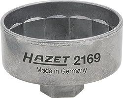 Hazet 2169 Ölfilterschlüssel, Antrieb: Innenvierkant 10 mm (3/8 Zoll) oder Außensechskant 27 mm, Abtrieb 14kant, Schlüsselweite 74,4 mm