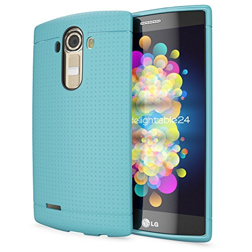 NALIA Handyhülle für LG G4, Ultra-Slim Case Softcover, Dünne Punkte Schutzhülle, perforierte Etui Handy-Tasche Back-Cover Bumper, TPU Silikon-Hülle für LG G-4 Smart-Phone - Mesh Türkis