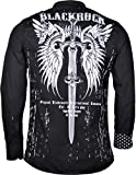 Black Rock Herren Langarm Hemd - Freizeithemd - Totenkopf Style - mit Strass Steinen im Print - in schwarz oder weiß (XL, schwarz)