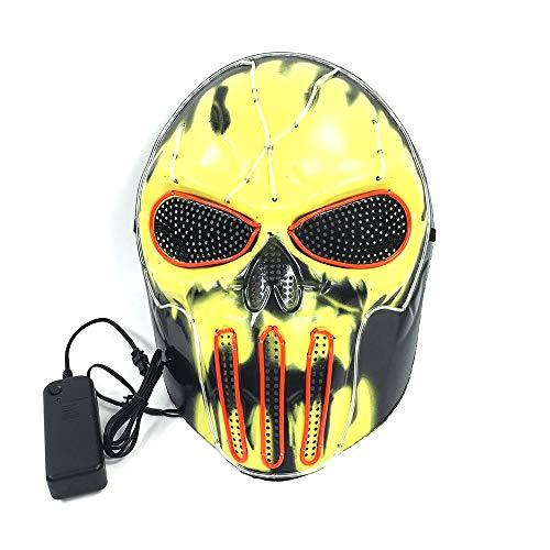 Cosplay Domino Kostüm - Halloween CS WISP Feuer Maske, 3 Blitzmodus EL Kaltlicht Maske FüR Weihnachten Karneval KostüM Cosplay Domino
