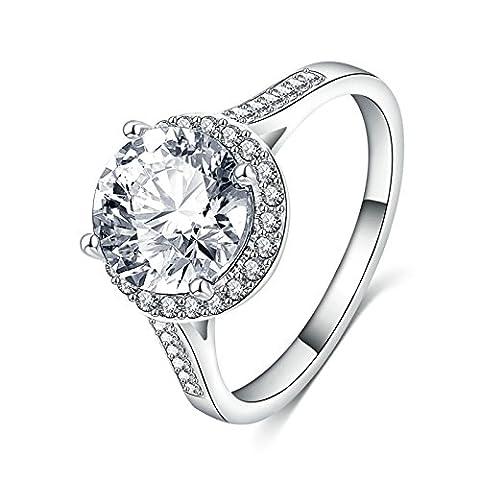 Beydodo Platinum Plated Rings for Womens Round Brilliant CZ Polish-Finished Size L 1/2 Bride's Wedding