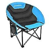 KingCamp Moon Chair Chaise de camping Easy Up jusqu'à 120kg Camping fauteuil chaise pliante Angel pour camping pêche randonnée pique-nique avec sac de transport, 84× 70× 40/80cm, bleu
