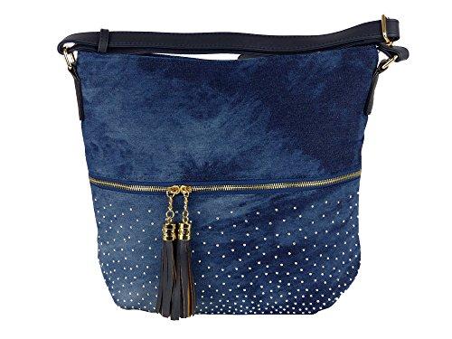 Coole Jeans Style Umhängetasche mit 2 Troddeln und kleinen Steinchen/Nieten - Glitzereffekt - Maße ohne Henkel 37x32x14 cm - Damen Mädchen Teenager Tasche - Used Look Style Dunkelblau/Blau
