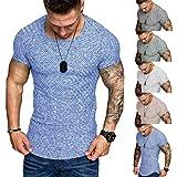 T-Shirt Herren Sommer Sport Rundhals Shirt Slim Fit Drucken Oansatz Kurzarm Bluse Outdoor Sweatshirt Männer Jogging Trikot