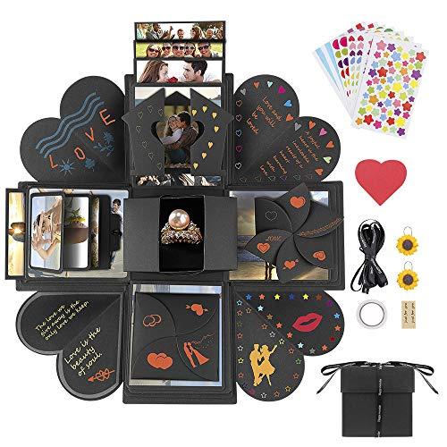 Jooheli Explosion Box, Kreative Überraschung Box, DIY Box DIY Geschenk Scrapbook und Foto-Album für Geburtstag Weihnachtsfeier, Geschenk Muttertag, Valentinstag, Hochzeitsgeschenk (Schwarz) (Foto-valentinstag-karte)