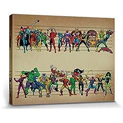 1art1® Set: Marvel Comics, Superheroes Assemble Cuadro, Lienzo Montado Sobre Bastidor (80x60 cm) + 1x 1 Accesorio Decorativo De Promoción