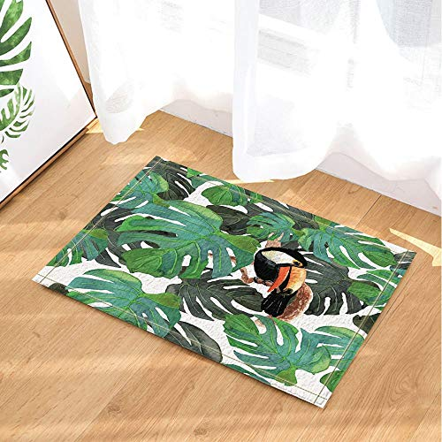 fdswdfg221 Aquarell Monster Blätter Dekor Vogel Tukan in tropischen Baum Zweig Badteppiche Rutschfeste Fußmatte Bodeneingänge Indoor Haustürmatte Kinder Badmatte Badzubehör