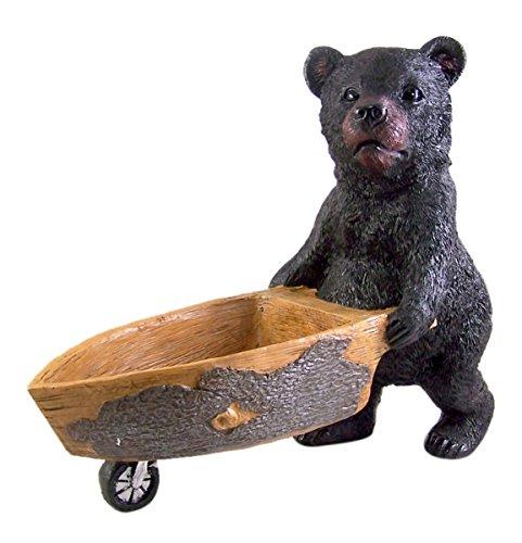 Rustikal Wildlife Dekor (Black Bear Decor Schwarz Bär Schiebt Schubkarre Statue 131/10,2cm)