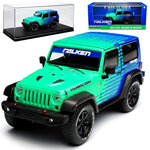 Greenlight Jeep Wrangler JK Rubicon 3 Türer Grün Blau Falken 2007-2018 1/43 Modell Auto - Modell Wrangler Jeep Rubicon