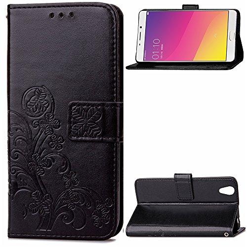 Kihying Hülle für Oppo R9 / Oppo F1 Plus Hülle Schutzhülle PU Leder Flip Wallet Fashion Geschäft HandyHülle (Schwarz - SD01)