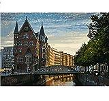 LIWEIXKY Rahmenlos Hamburg City View Landschaftsmalerei Färbung Nach Zahlen Digital Handgemalte Leinwand Gemälde Für Wohnkultur 50X60Cm