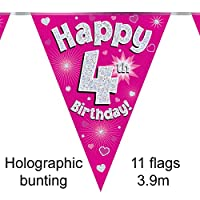 Happy 4th Birthday Pink Holographic Foil Party Bunting 3.9m Long 11 Flags