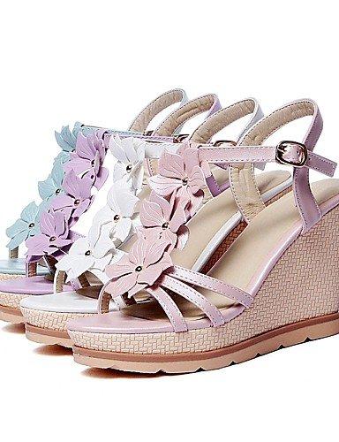 UWSZZ IL Sandali eleganti comfort Scarpe Donna-Sandali-Formale / Casual-Zeppe / Con cinghia / Aperta-Zeppa-Finta pelle-Blu / Rosa / Viola / Bianco White