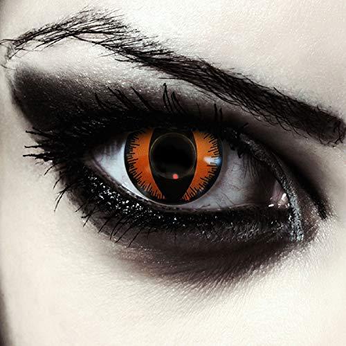 "Designlenses, Dos lentillas de colores naranjas para Halloween costume ojo de gato/dragón lentes sin dioprtías/corregir + gratis caso de lente ""Orange Dragon"""
