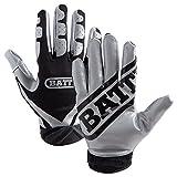 Battle Football Glove, Silver/Black, Adult X-Large