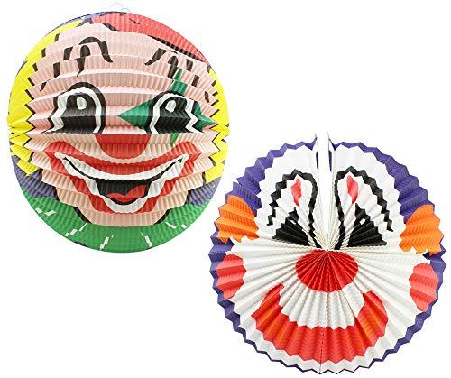 com-four® 2 Laternen für Kinder aus Papier mit Clown-Gesichtern, Bunte Zuglaternen aus Papier, Lampion für Kinder, Ø 36 cm und Ø 42 cm (02 Stück - Clown Mix 2)