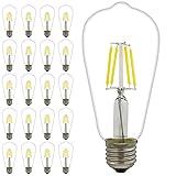 20 pezzi E27 4 W LED Filament lampadina Edison Vintage lampadina a incandescenza, bianco caldo, 2700 K, non dimmerabile, AC 220V equivalente 40 W Edison lampadina alogena (ST64, bianco caldo 4 W)