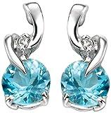 Elements Gold Damen-Halskette 9 Karat (375) Weißgold Blautopas Diamant Ohrring