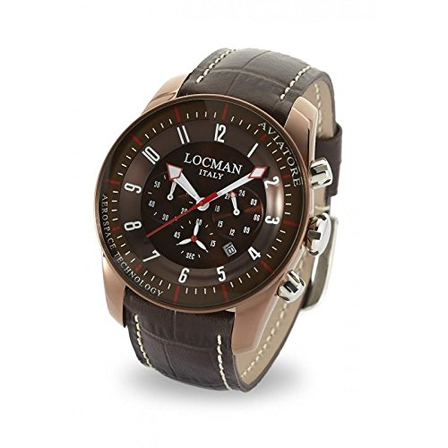 Watch Locman Aviator Quartz 0450BNBNFWRNPST (Rechargeable) quandrante Steel Brown Leather Strap