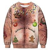 VEMOW Heißer Damen Frau Herbst Winter 3D Druck Weihnachten Langarm Täglichen Party Casual Freizeit Sweatershirt Top Bluse Pullover(Braun, EU-32/CN-L)