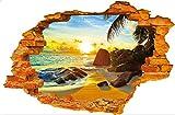 LifeUp 3D- Adesivi Murali Grandi Camera da Letto Soggiorno ' Paessaggi dalla Finestra ' Strada Castello Mare molto Realistico, Regalo Originale Fai da Te!