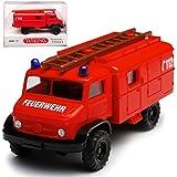 alles-meine GmbH Mercedes-Benz Unimog S Feuerwehr Rot H0 1/87 Wiking Modell Auto mit individiuellem Wunschkennzeichen