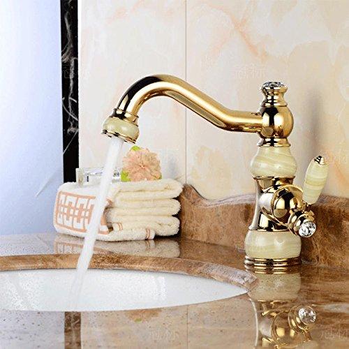 NewBorn Faucet Wasserhähne Warmes und Kaltes Wasser große Qualität der Gold-Copper natürliche Jade Leitungswasser S antiken Tisch Marmor Waschbecken Kaltes und Warmes Leitungswasser -