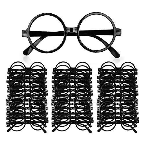 JNCH 40Pcs Zauberer Brille Runde Gläser Rahmen Brillen Keine Linsen Gläser Requisiten für Halloween St Patrick Tag Kostüm Party Club Tanz Props Schwarz