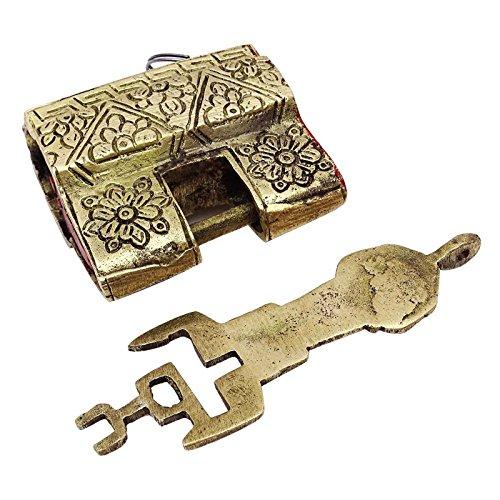 Decorativo Tono Antiguo Candado Metálico De Oro Indio Tallado Decorac