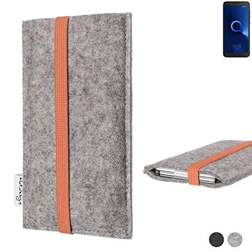 flat.design Handy Hülle Coimbra für Alcatel 1C Single SIM - Schutz Case Tasche Filz Made in Germany hellgrau orange