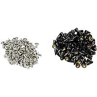 SODIAL(R) 100X Apliques Remaches 10mm Negro Bala Tachuelas Bolsa/Calzado/Guante
