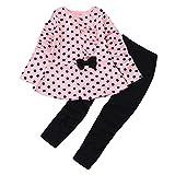 Baby Junge Kleidung Outfit, Honestyi Kleinkind Säuglings Baby Mädchen Punkt Druck Kleidungs Bogen Oberseiten T Shirt + Hosen Ausstattungs Satz (Roas,130)
