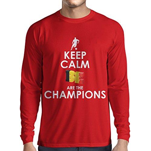 Langarm Herren t Shirts Belgier sind die Champions - Russland-Meisterschaft 2018, WM-Fußball, Team von Belgien Fan-Shirt (Small Rot Mehrfarben)