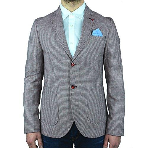 f9c5b43f4969d Giacca Sartoriale Slim Fit Uomo Vincent Trade Microfantasia Rossa Pochette  Made In Italy MAn Blazer