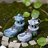 Miniatur Ornament Micro Landschaft Fairy Garden Decor, Pavilion mit einem Teich, Mini Retro Teich Tower Craft Fairy Garden Decor Figuren Toys Micro Free Size Zufällig