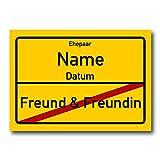 Herz & Heim® PVC Schild zur Hochzeit 70x50 cm Familiennamen und Hochzeitsdatum
