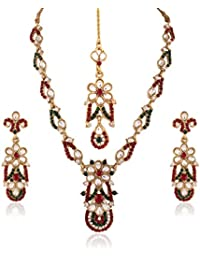 I Jewels Traditional Gold Plated Elegantly Handcrafted Kundan & Stone Jewellery Set With Maang Tikka For Women...