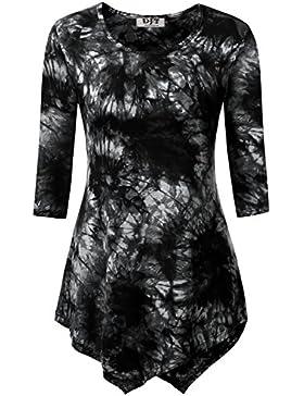 DJT Damen 3/4 Aermel T-shirt Asymmetrisch Hem Stretch Tunika Tops