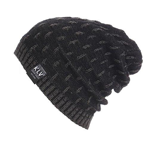 Muster Stricken-wolle-skull-cap (Kobay Männer Frauen Warm Crochet Winter Wolle Knit Ski Beanie Skull Slouchy Caps Hut (Freie Größe, Grau))