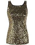 PrettyGuide Damen Pailletten Tank Top Ärmellos Funkeln Schimmern Vest Top Clubwear L Gold