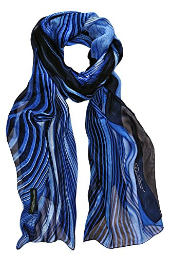 BORDERLINE - 100% Made in Italy - P/E 2017 - étole Femme GALAXY SCARF Paon bleu