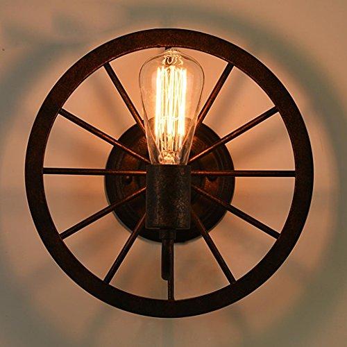 Nordic Rétro Style Industriel En Fer Forgé Appliques Creative Roue Mur Lampe Lampe Allée Bar Loft Décoratif Éclairage, Lumière E27 * 1, Diamètre 30 cm
