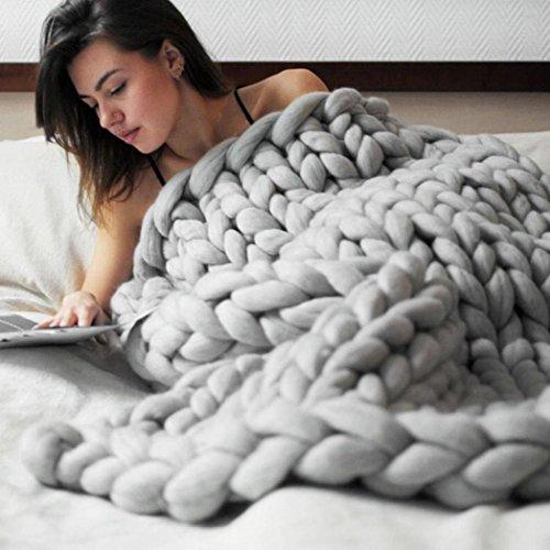 EARS Hand Chunky Gestrickt Warme Decke Dickes Garn Merinowolle Bulky Strickdecke 80x100cm (Grau)