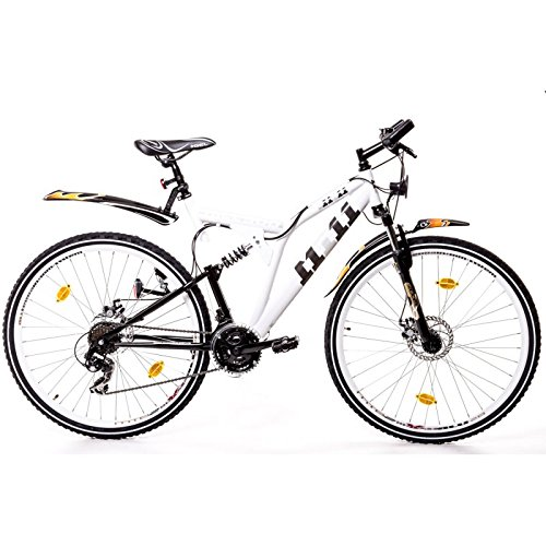 28er Fully Trekking Mountain Bike Scheibenbremsen Fahrrad Velo Rad weiss