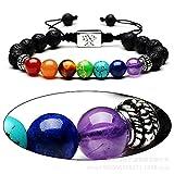 Hlzf Leben Baum 8Mm Perlen Armband Naturstein 7 Chakra Yoga Energie Stein Mode Geflochtenes Armband,Silver