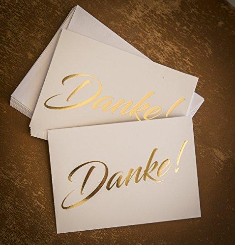 Dankeskarten, Danke, 10 Karten inkl. 10 Umschlägen, goldene metallic Heißprägung, Danke sagen, Hochzeit, Geburt, Baby, Taufe, Geburtstag, Jubiläum